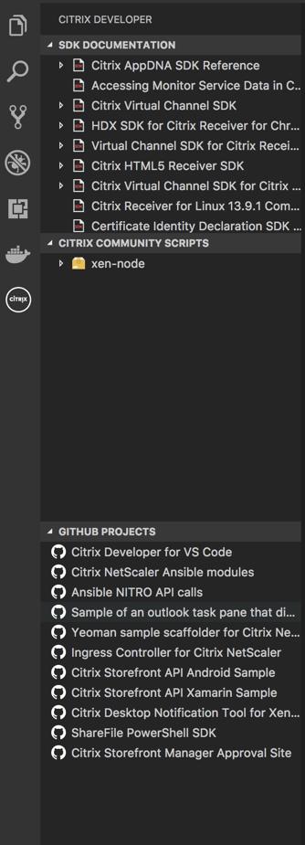 Citrix Developer tools for Visual Studio Code